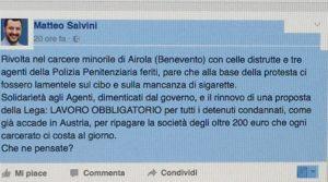 Salvini post Airola